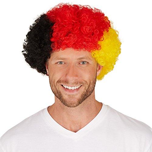 dressforfun Perücke Deutschland Afro | Tolle Lockenpracht | Bestens für Fan-Veranstaltungen und auch für Fasching geeignet