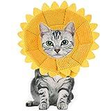 NAMIS Collare Protettivo Gatto Morbido Regolabile Collare Elisabettiano con Motivo a Girasole Giallo Collare Protettivo per Animali Domestici Collare Protettivo Cono per Cane Gatto Ferita Recupero