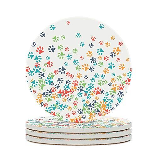 Fineiwillgo Posavasos de cerámica para huellas de mascotas, redondo, protector de cerámica, con base de corcho, decoración para bar, cristal, oficina, diámetro de 9,8 cm, color blanco, 6 unidades