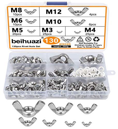 beihuazi® Flügelmutter M3 M4 M5 M6 M8 M10 Flügelmuttern Sortiment Kit für DIY Tools