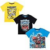 Transformers Bumblebee Optimus Prime Big Boys 3 Pack T-Shirt Yellow/Blue/Black 10-12