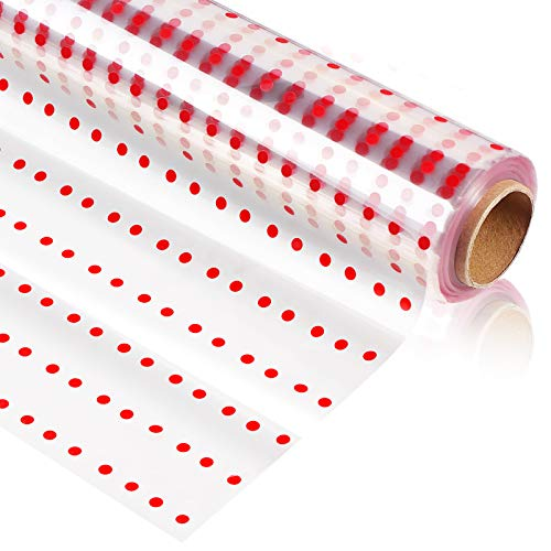 NUOBESTY Clear Cellophane Wrap Roll| 100Ft X 31In| 3 Mil Thick Transparent| Red Dot Wrapping Paper for Baskets Gifts Flowers Food Arts Crafts Treats