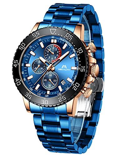 MEGALITH Reloj Hombre Acero Inoxidable Cronografo Azul Reloj de Pulsera Esfera Grande Analógico Elegante Relojes Impermeable Luminoso Fecha