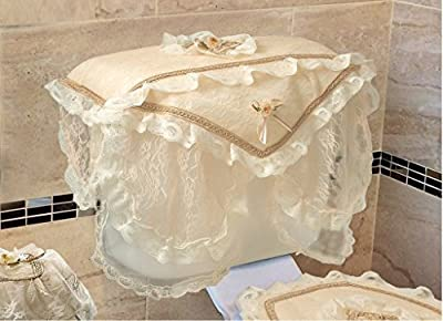 Violet Linen Luxurious and Elegant Eden Lace Style Bathroom Tank Cover, Gold