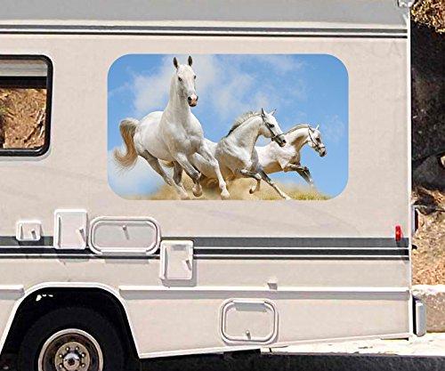 3D Autoaufkleber Pferde Pferderennen Galopp Herde Wohnmobil Auto KFZ Fenster Motorhaube Sticker Aufkleber 21A401, Größe 3D sticker:ca. 120cmx73cm