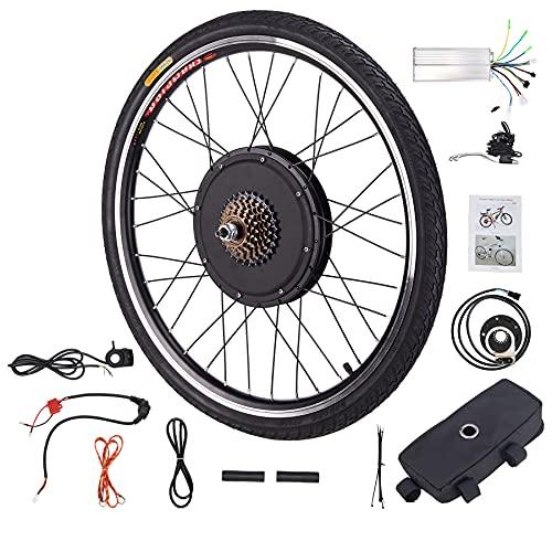 HIRAM 48V 1000W Electric Bike Conversion Kit, 26' Front or Rear Wheel Dual Mode Controller, Hub Control Brushless Motor E-Bike Conversion Kit (1000W Rear Wheel)