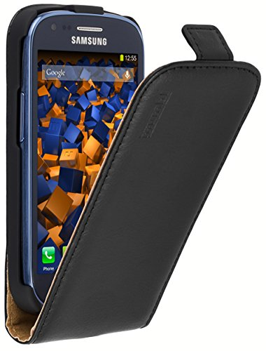 mumbi Echt Leder Flip Hülle kompatibel mit Samsung Galaxy S3 mini Hülle Leder Tasche Hülle Wallet, schwarz