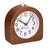 Navaris Analogue Wooden Alarm Clock - Retro Table Clock with Half Round Design Snooze Function and Alarm Face Light - Natural Wood in Dark Brown