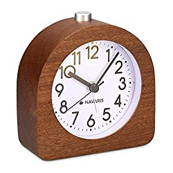 Navaris Wood Analog Alarm Clock - Half-Round Battery-Operated Non-Ticking Clock with Snooze Button and Light - Dark Brown