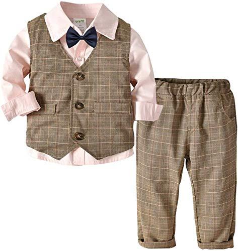 Eastery Baby Jungen Taufanzug Hochzeitanzug Bekleidungset Gentleman Festliche Baumwolle Jumpsuit Langarm Einfacher Stil Hemd Fliege Weste Hose (Color : Kaffee+Rosa, One Size : 80(9-12Month))