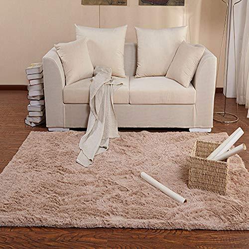 Enkoo Sala de estar mesa de café alfombra terciopelo de lana dormitorio cabecera color sólido densificado y engrosado marrón 140 * 200 CM (Color : Camel, tamaño : 140cm*200cm)