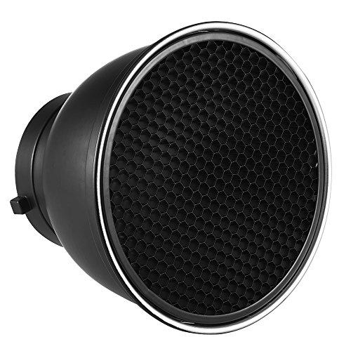 Andoer 7' Reflector Difusor Lámpara Plato con 60° Rejilla de Nido de Abeja Blanco Paño Suave para Montaje de Bowens Estudio Flash Speedlite Luz