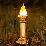 garden mile® Gartenstatue, olympisch, tanzend, flackernd, Flammeneffekt, groß, Stein-Effekt, solarbetrieben, römische Säule, Feuer, Gartenornament, antikes griechisches Weiß