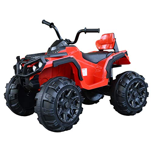 Aosom Kids Ride-on Four Wheeler ATV Car with Real Working Headlights, Music/Radio Player, & Smooth Suspension, Red