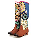 CYNLLIO Women's Block Heel Boots Bohemian Colorful Print Boots Ethnic Mid Calf Boots with Zipper