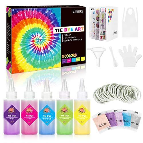 Emooqi Tie Dye Kit, 5 Farben Textil Farbstoff Set mit Quetschflaschen, Gummibänder & Handschuhe usw, DIY Vibrant Batikfarben Krawattenfärbe Set für Kinder & Erwachsene (Lila)