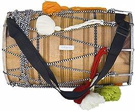 Maharaja Musicals Dhol Drum, Professional, Kachha Pakka Shesham Wood, Natural, Padded Bag, Beaters, Nylon Shoulder Strap, Punjabi Bhangra Dhol Instrument (PDI-DCE)
