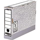 Bankers Box 11800 - Caja de archivo definitivo automático, folio, lomo 80 mm, gris jaspeado