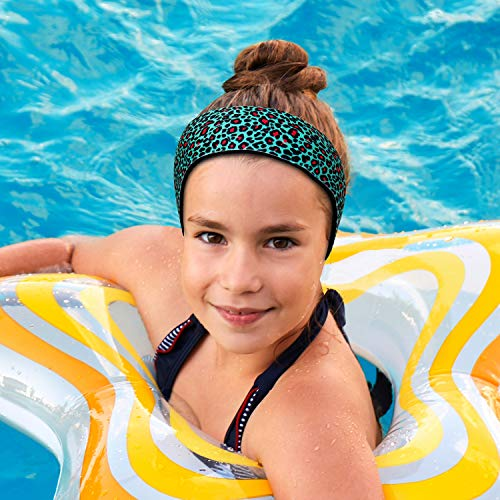 Swimming Headband with Earplugs for Kids by Will & Fox | Helps Prevent Swimmers Ear | Non-Slip Grip | Adjustable Ear Band | Fits Kids 18 Months to 10 Years | Cheetah, Medium