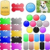 Frienda 60 Pieces Colorful Blank Dog Tags Hand Personalized Blank ID Tags Aluminum Round Dog Tag Bone Shape Pet ID Tags Stamping Blanks Discs with Hole for Dogs Cats Pets Name Craft Tag