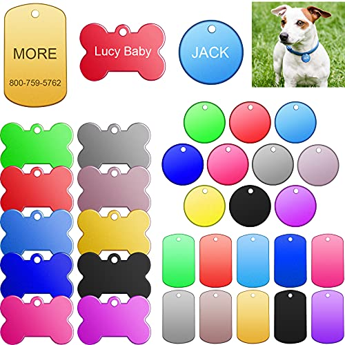 60 Pieces Colorful Blank Dog Tags Hand Personalized Blank ID Tags Aluminum Round Dog Tag Bone Shape Pet ID Tags Stamping Blanks Discs with Hole for Dogs Cats Pets Name Craft Tag