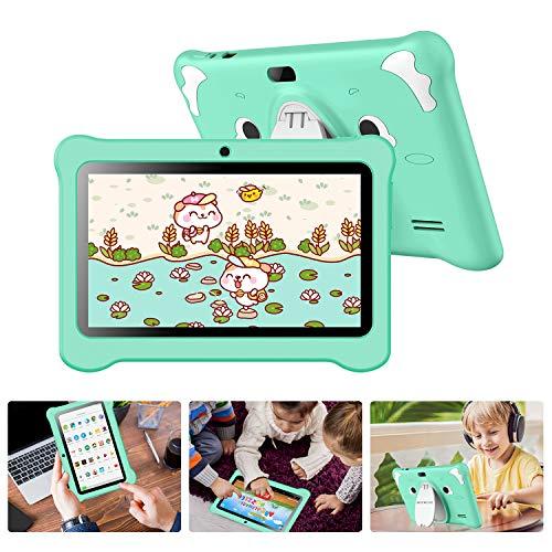 Tablet per Bambini with WiFi Schermo IPS 7 Pollici Android 10.0 GMS Certificato, Kids Tablet con WiFi 3 GB RAM e 32 GB Rom Google Play Quad-Core Preinstallato Educazione, per Bambini Regalo (verde)