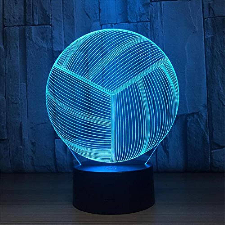 3D Nachtlicht Volleyball Sieben Farbverlauf 3D Remote Touch Acryl LED Tischlampe Nachtlicht, Fernbedienung LED-Lichtquellen (Farbe   Touch)