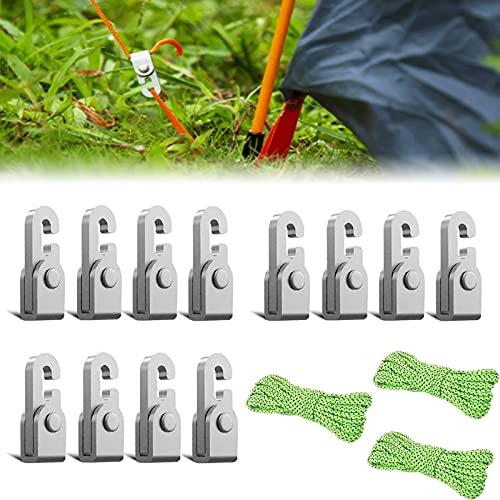 Gancho de bloqueo automático 4 piezas / paquete con cuerda de 5 m, kit de cuerda fácil de apretar con nudo libre de autobloqueo, accesorios para tiendas de campaña, agarre de cuerda resistente -12 Pcs