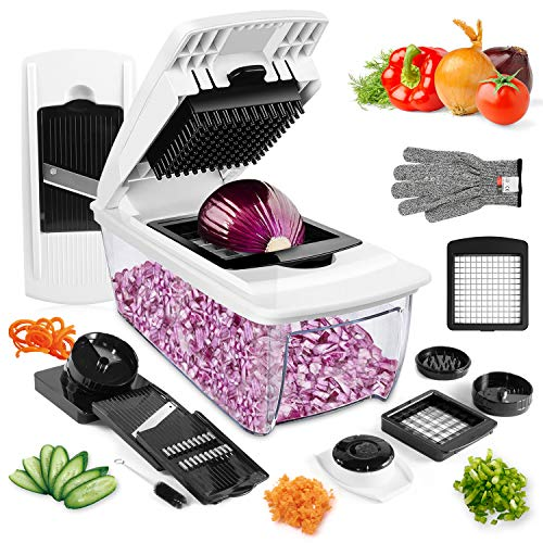 Vegetable Chopper, ONSON Onion Chopper Spiralizer Vegetable Slicer Dicer - Mandoline Slicer WITH LARGE CONTAINER Food Chopper - Veggie Chopper Vegetable Cutter Potato Slicer - Choppers and Dicers
