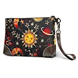 Carteras Women's Leather Wristlet Clutch Wallet Celestial Midnight Purse Phone Handbags Card For Travel Party Wedding Shopping