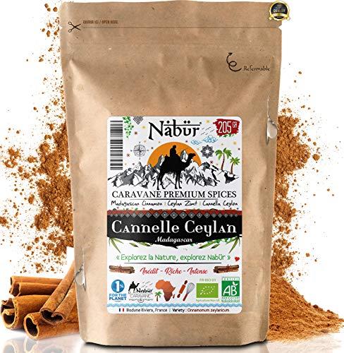 Nabür ⭐ Cannelle de Ceylan Bio de Madagascar 200 Gr ⭐ Poudre Cannelle Ceylan Véritable ⭐ Rare, Inédit, Riche, Parfumée 🌴 Plaisirs en bouche, Variété : Cinnamomum Zeylanicum