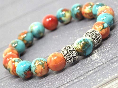 Pulsera para mujer en cuentas de jade reconstituido azul, marrón, naranja y blanco y perlas centrales con cristales