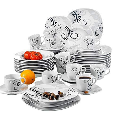 VEWEET Zoey 60pcs Service de Table Porcelaine 12pcs Assiette Plate, Assiette à Dessert, Assiette Creuse, Tasse avec Soucoupes pour 12 Personnes Vaisselles Céramique Fleuri Noir Design Moderne