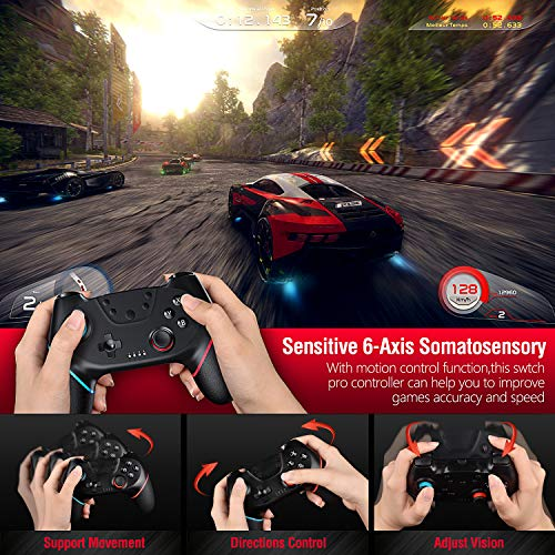 Gamory Controller Ersatz für Switch Bluetooth Wireless Remote Gamepad mit einstellbarem Turbo und Dual Shock Joysticks Spiele Handkonsolen (Black)