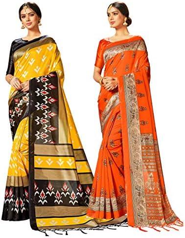 STYLE INSTANTLot de deux saris pour femme en soie indienne Mysore Art imprim 233;e pour mariage cadeau pour Diwali