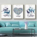 WEDSA Mural Lienzo Pintura póster decoración del hogar Retro War Style Decorativo Animal Deer Canvas Canvas Art Print Poster Wall Paintings Home Bedroom Wall Decoration 30x40cmx3 Sin Marco