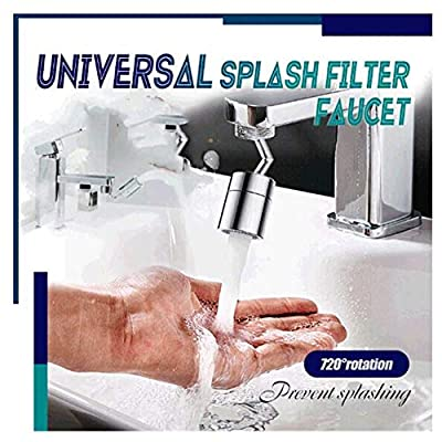 Universal Splash Filter Faucet - 720° Rotatable Faucet Sprayer Head O-Ring Faucet Filter, 4 Layers Net Filter Double Gaskets Leakproof Design Faucet Sprayer Attachment Water Filter Faucet (1PC)