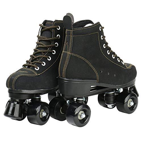 girls roller skates Flashing Artificial Leather boys roller skates Indoor Outdoor Beginner Adult quad skates-Black_black_wheel_44