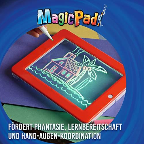 Mediashop Magic Pad – Zaubertafel mit 6 Neonfarben und 8 Leuchteffekten – Kreative Beschäftigung für Kinder, auch unterwegs – Maltafel mit 30 Schablonen, abwischbar – 2 STK. - 5