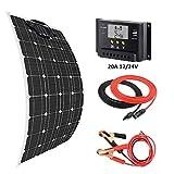 Giosolar - Kit de cargador de panel solar flexible de 100 W + controlador solar LCD de 20 A + cable solar de 5 m + cable de batería 3M para barcos, autocaravanas, sistemas fuera de red