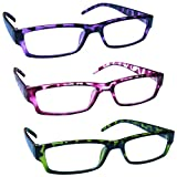 The Reading Glasses Company Purple Pink Green Lightweight Comfortable Readers Value 3 Pack