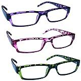 The Reading Glasses Company Gafas De Lectura Púrpura Rosa Verde Ligero Cómodo Lectores Valor Pack 3 Hombres Mujeres Rrr32-546 +1,00 3 Unidades 88 g