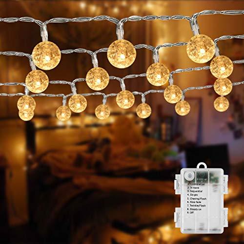 BrizLabs Cadena de Luces bolas Blanco Cálido 50 LED con Pilas 5M Impermeable 8 Modos Guirnaldas Luces LED Decoracion para Exterior, Interior, Jardín, Casa, Boda, Fiesta, Navidad