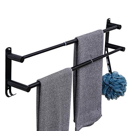 【伸縮可能な新型】304ステンレス製タオルハンガー 2段式 タオル掛け 強力3M 粘着 バスルーム用 壁掛け式 穴なし取り付け 穴あけ取り付け 洗面所 キッチン省スペース (2層)