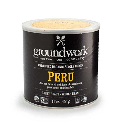 Groundwork Organic Whole Bean Light Roast Coffee, Peru, 16 Ounce Can