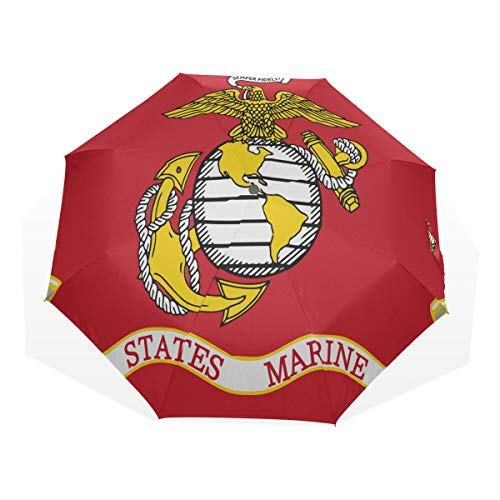 Outdoor Umbrella Travel America Flag Marine Corps Military Armed Forces Windproof Compact Umbrella Travel Rain & Wind Resistant Compact and Lightweight For Business and Travels