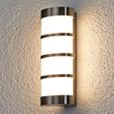 Lampenwelt Edelstahl LED Wandlampe aussen | LED Aussenwandleuchte IP54 | inkl. LED Leuchtmittel A+ | warmweiss (3.000K) | Wandleuchte aussen | Außenbeleuchtung Wand für Hof, Garten