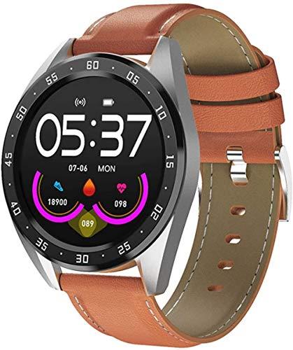 Reloj inteligente con pantalla de 1 3 pulgadas, monitor de actividad física, podómetro, pulsera con mensaje, recordatorio inteligente, IP67, impermeable, 170 mAh-marrón/cuero