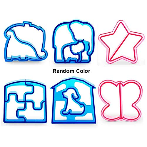 6 Pack Sandwich Cutters and Bread Crust Shape Remover for Kids, Messar Cute Animals Shapes Toast Mould DIY Sandwich Slicer Maker Kit for Children Bento Lunch Box Food Decor- Color Random (Style B)