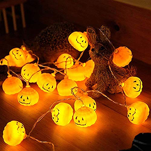 Dltmysh Cadena de Luces led Solar con Pilas 1M / 2M / 3M Cadena Luces Fiesta de Navidad de la Calabaza de Halloween LED Fiestas 3D Calabaza linternas de luz de Tira